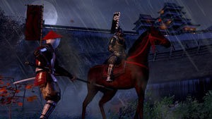 A spearman and a mounted rider facing off in Shogun 2: Total War