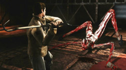 Battling frightening monsters in ''Silent Hill: Homecoming''