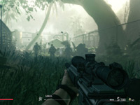 Sniper taking aim from a crouched position in the tall grass in Sniper: Ghost Warrior