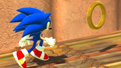 Sonic collecting rings in Sonic Unleashed