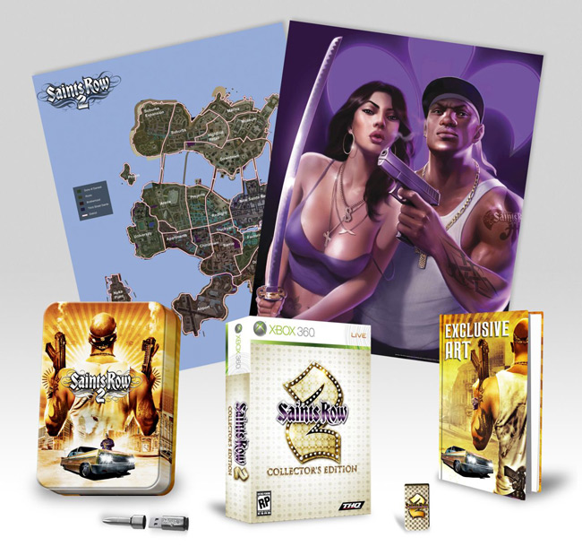 Saints Row 2 Game; Saints Row 2 Embossed Tin; Saints Row 2 Money Clip; Double-Sided Game Poster/Map; Exclusive Art Book; Silver Bullet Shaped 512 MB USB