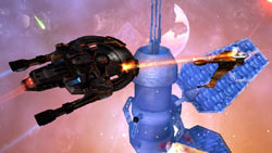 Federation and Klingon ships battling in space in Star Trek Online