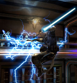 Starkiller using Force lightening against stormtroopers in Star Wars: The Force Unleashed II