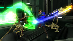 Jedi taking on a squad of droids in close quarters in 'Star Wars The Clone Wars: Republic Heroes'