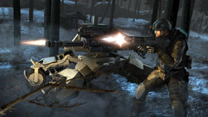 A Ghost using the firepower of a mobile drone turret as support in Tom Clancy's Ghost Recon: Future Soldier
