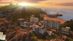 Sunset over the island in Tropico 3