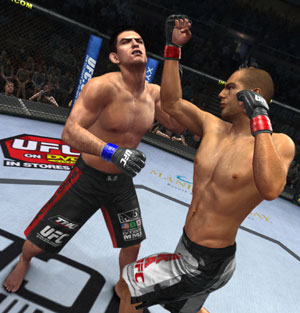 Action in the middle of the octagon in UFC Undisputed 2010