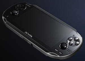 Front angled view of the PlayStation Vita showing the large screen, the two analog sticks and the inward facing camera