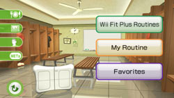 Workout personalization options in the Locker Room in 'Wii Fit Plus'