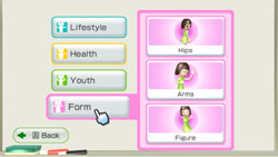 Targeting specific body areas for excercise in 'Wii Fit Plus'