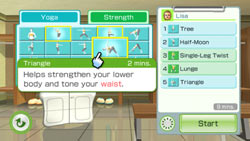 Yoga and strength activity selector in 'Wii Fit Plus'
