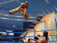 Rey Mysterio going airborn against Brett Hart in WWE All-Stars