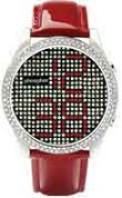 Phosphor Women's Appear watch with Swarovski Crystal face and a red wrist band