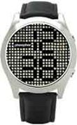 Phosphor men's Appear watch with Swarovski Crystal face, satin metal finish and a black wrist band