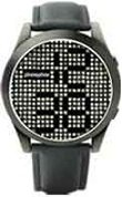 Phosphor men's Appear watch with Swarovski Crystal face, dark metal finish and a black wrist band