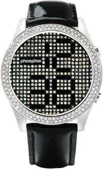 Phosphor Appear watch with Swarovski Crystal face and a black wrist band