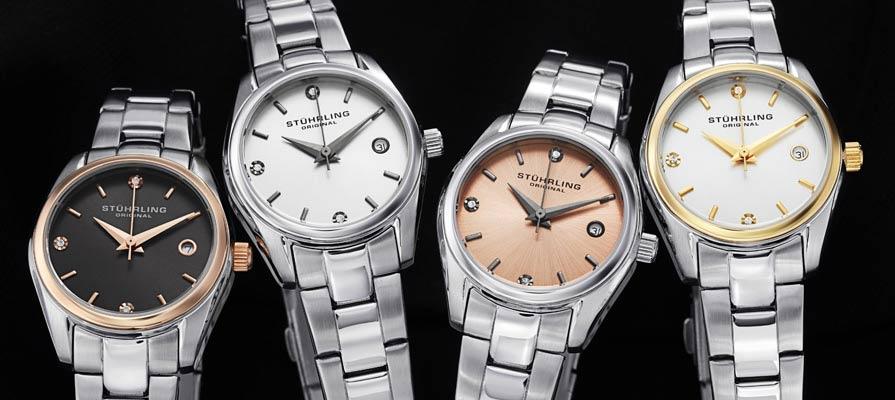Stuhrling Original Women's Ascot Swiss Quartz Swarovski Accented Watches