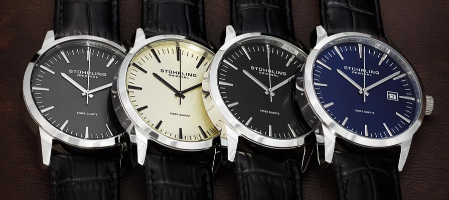 Stuhrling Original Men's Ascot II Swiss Quartz Strap Set Watches