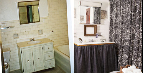before and after bathroom decorating