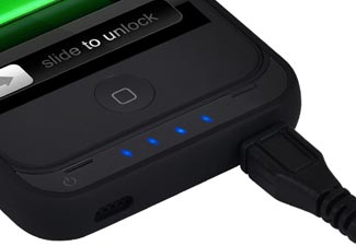 iPhone 4 4S offGRID Backup Battery Case - Recharge LED Lights