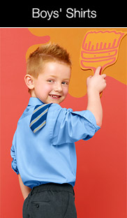 small smiling boy looking orange hair wearing blue shirt with tie over shoulder