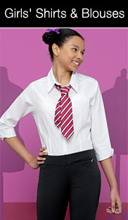 girl with school tie smiling looking to right