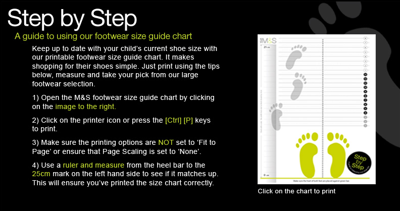 Footwear size guide chart