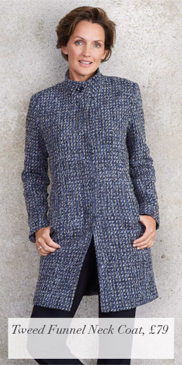 Tweed Funnel Neck Coat, £79