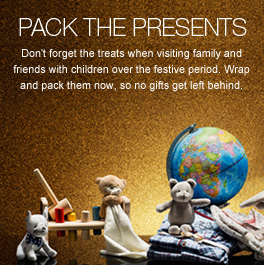 Pack the Presents - Don't forget the treats when visiting family and friends with children over the festive period. Wrap and pack them now, so no gifts get left behind.
