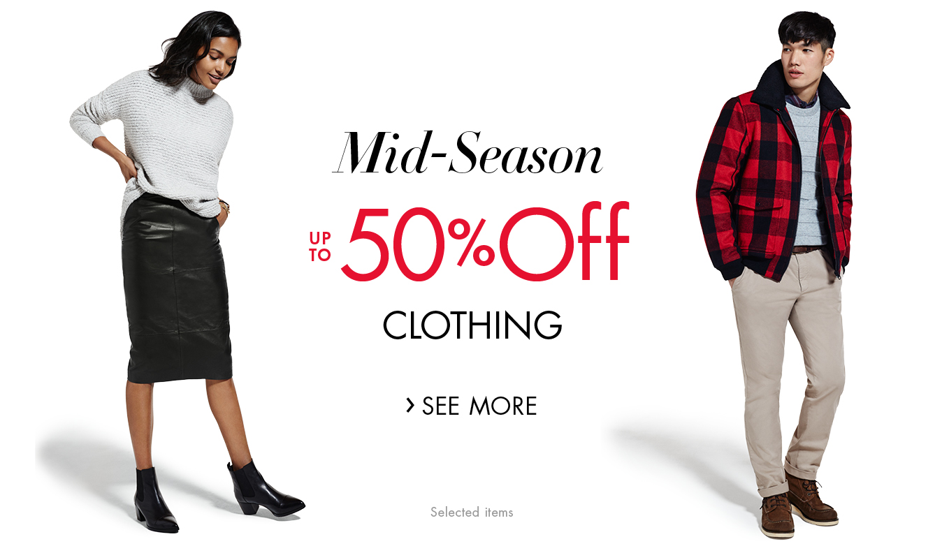 Mid-Season SALE up to 50% Off Clothing