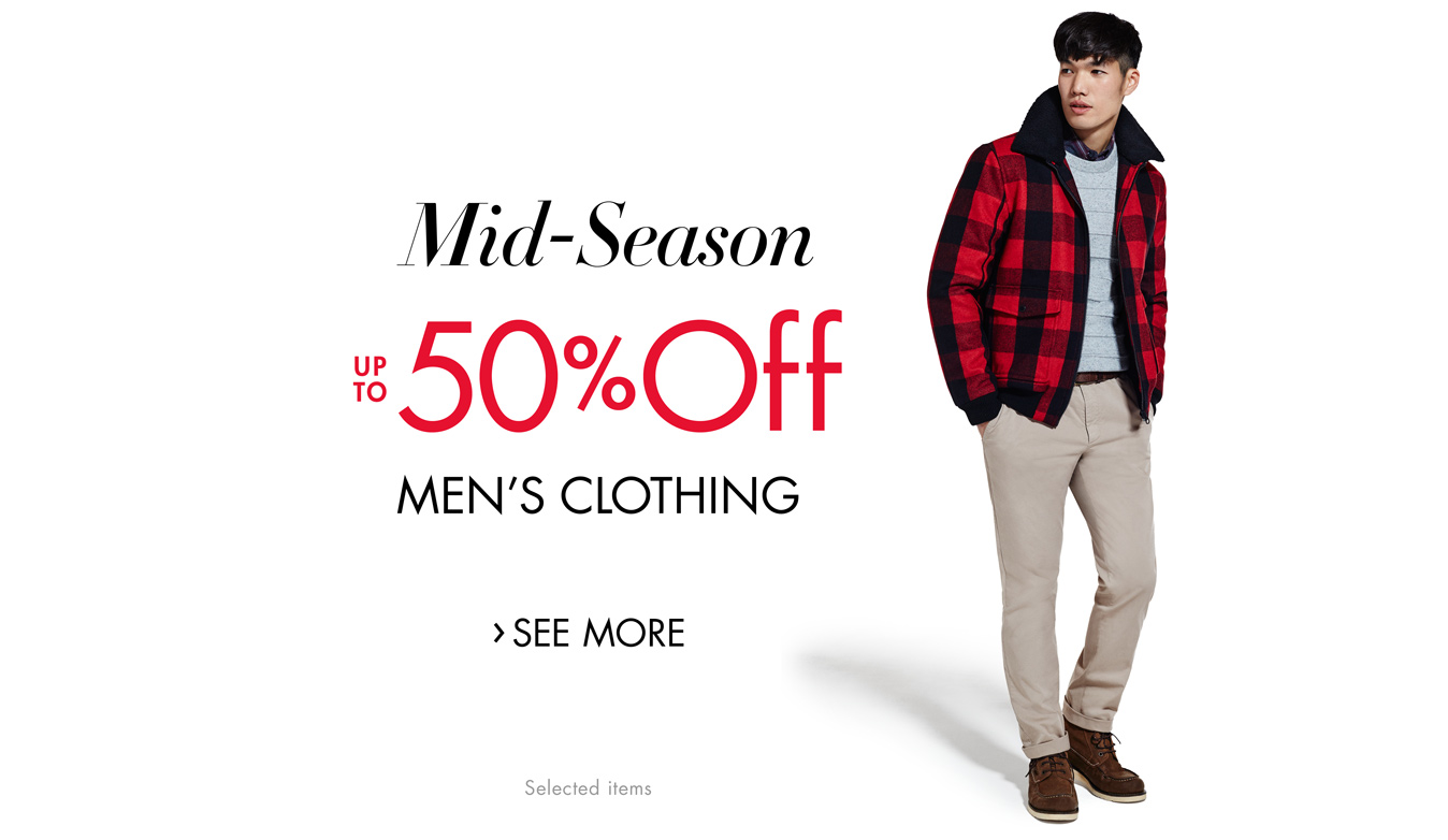 Mid-Season SALE up to 50% Off Men's Clothing