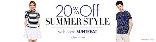20% Off Summer Style with code SUNTREAT