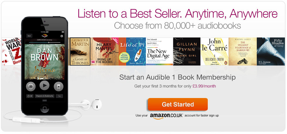 Listen to a Best Seller anytime, anywhere. Download any audiobook for just 3.99 per month, for your first 3 months, when you become an Audible Member