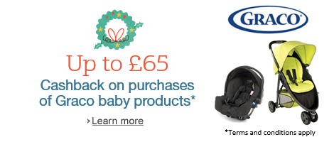 Receive up to £65 cashback on purchases of Graco products