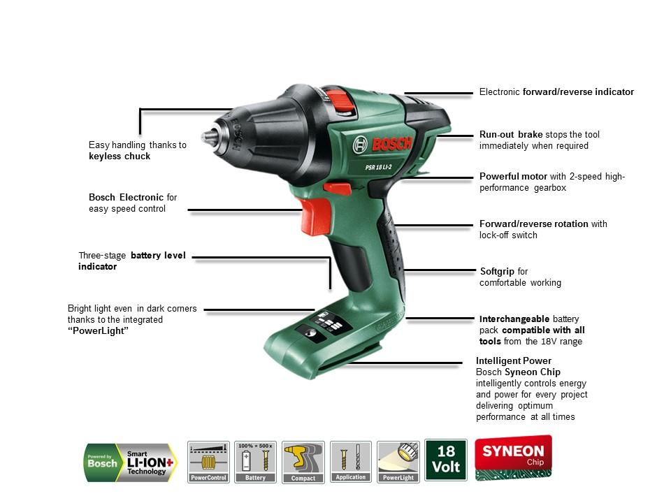 bosch psr 18 li 2 cordless 18 v lithium ion drill driver featuring syneon chip baretool. Black Bedroom Furniture Sets. Home Design Ideas