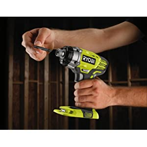 RID180M ONE+ 18V Impact Driver showing easy bit change