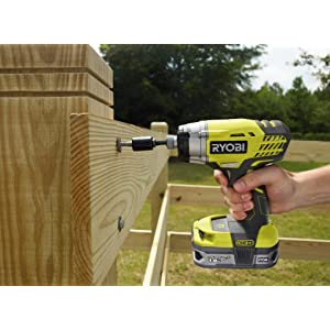 RID180M ONE+ 18V Impact Driver driving large bolt into fence post