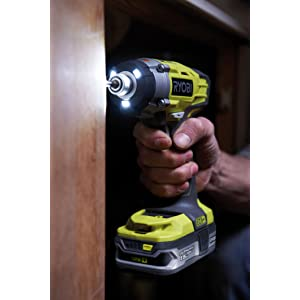 RID1801M ONE+ 18V Impact Driver showing positive grip and tri beam 3 x LEDs