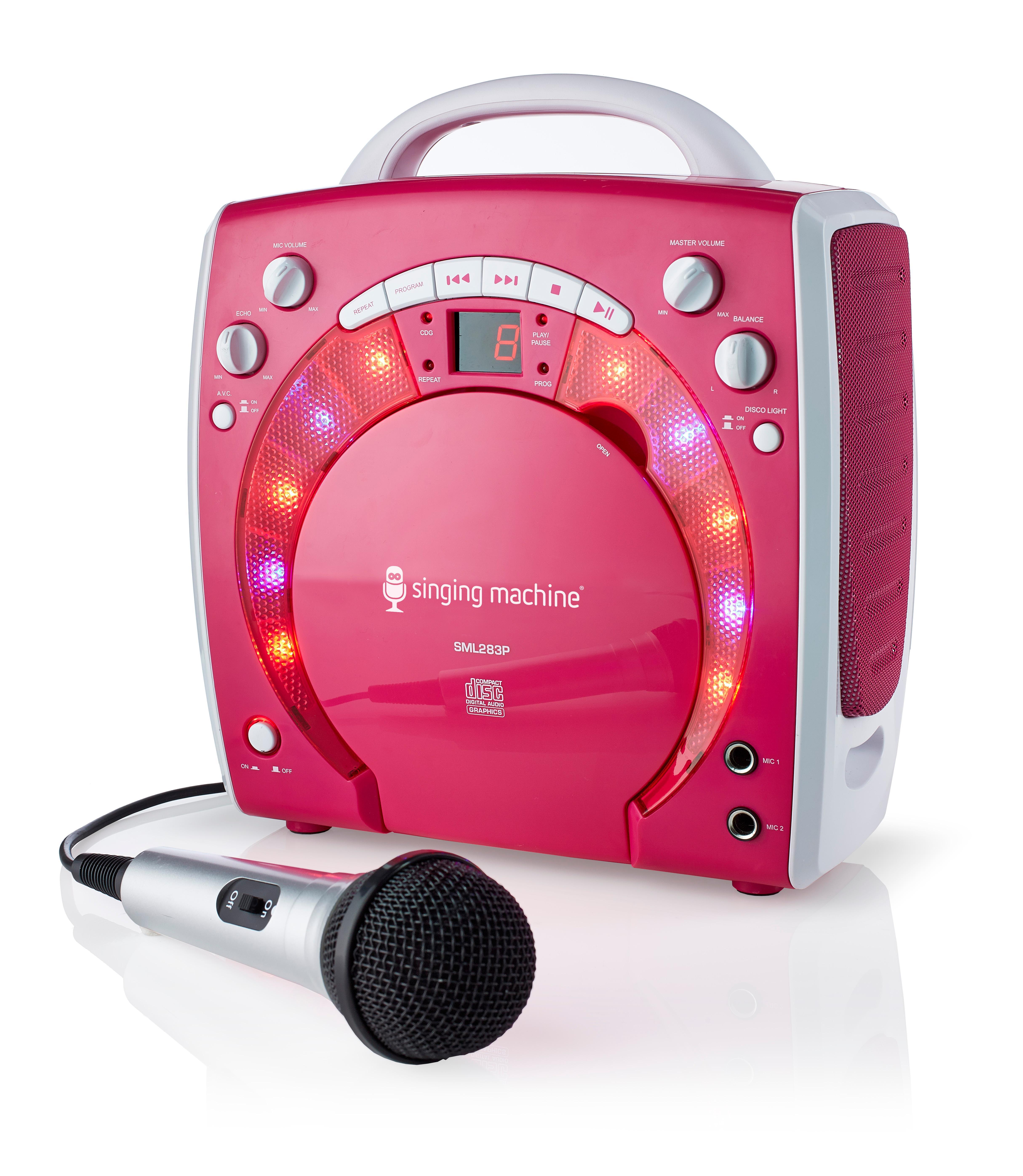 kids girls karaoke machine singing songs portable pink