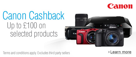 Canon Summer Cashback--Up to £100 on Selected Products