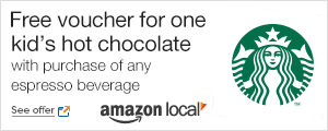 Amazon Local offer: Free kid's hot chocolate with purchase of any espresso beverage at Starbucks