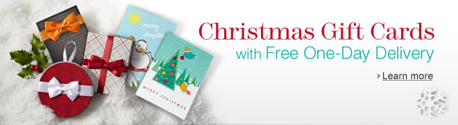 Christmas Gift Cards with Free One-Day Delivery