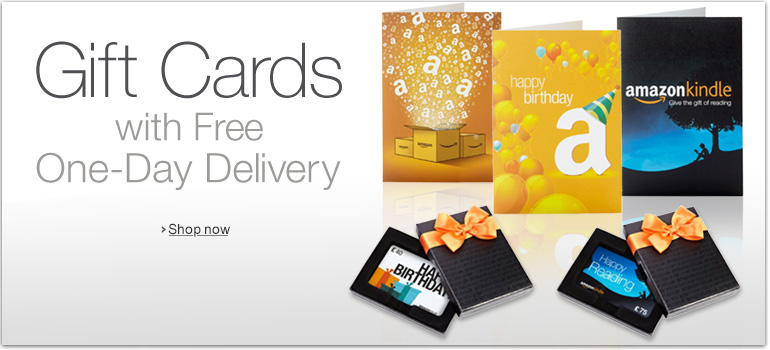 Gift Cards with Free One-Day Delivery