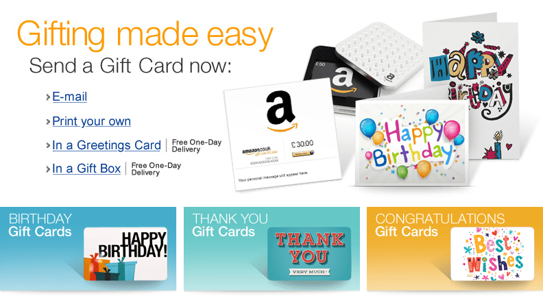 Amazon.co.uk: Gift Cards and Gift Vouchers   Free Delivery