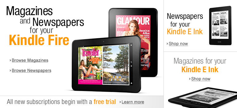 Magazines and Newspapers for your Kindle Fire and Kindle E Ink devices