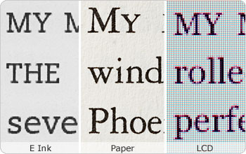 E Ink fonts are sharp and clear like real paper.