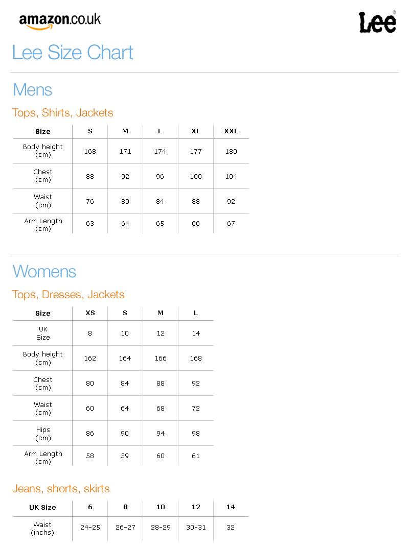 Lee Shirt Size Chart Lee Sizing Chart