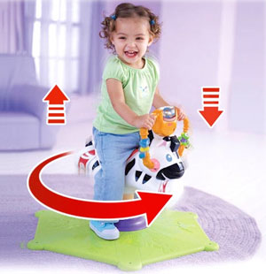 Fisher-Price Bounce & Spin Zebra Black & White with child