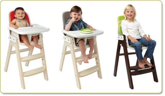 The OXO Tot Sprout Highchair is available in the following styles: Orange/Birch, Taupe/Birch and Green/Walnut