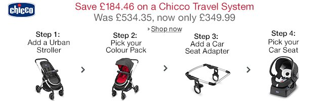 Save up to £184.46 on a Chicco Travel System. Was £534.35, Now £349.99
